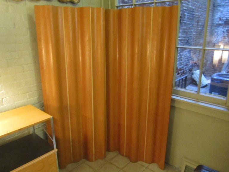 EAMES ICONIC 6 PANEL SCREEN IN CALICO ASH COVERED PLYWOOD WITH CANVAS